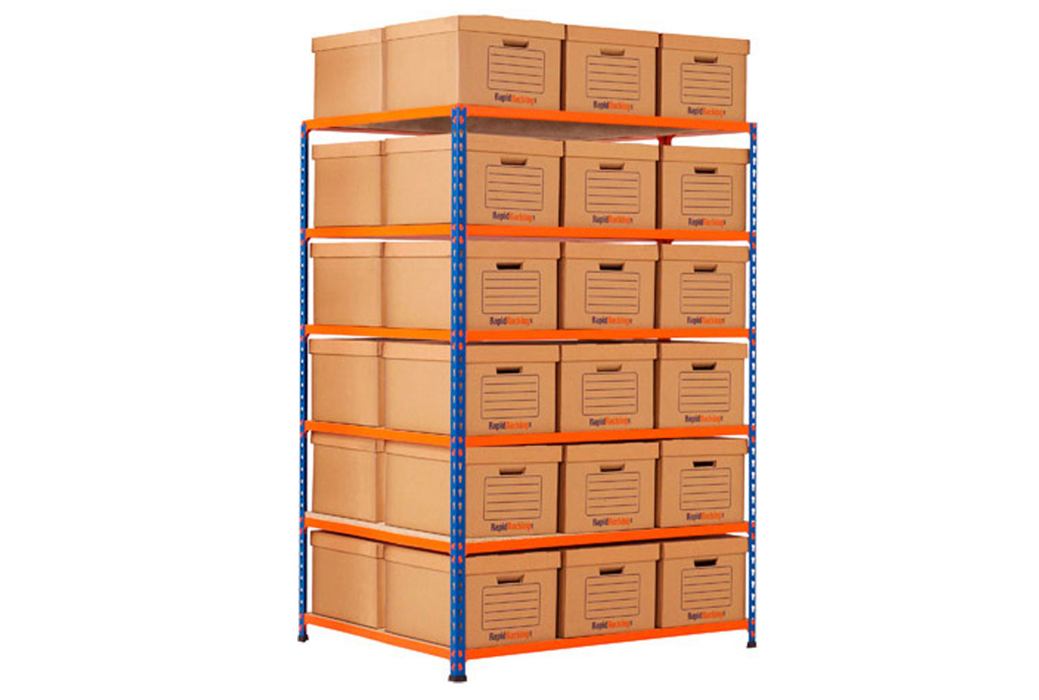 Rapid 2 double sided storage bay with 36 brown document boxes