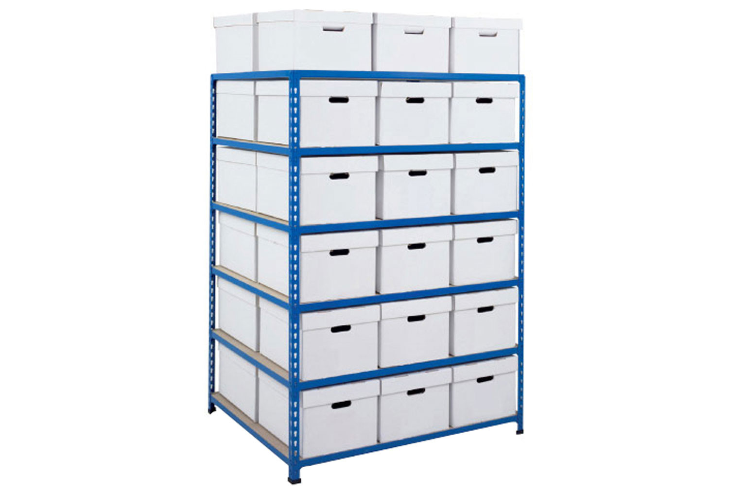 Rapid 2 double sided storage bay with 36 white document boxes
