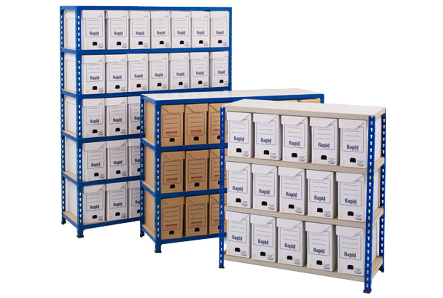 Rapid 2 flip top document storage bay with 25 boxes