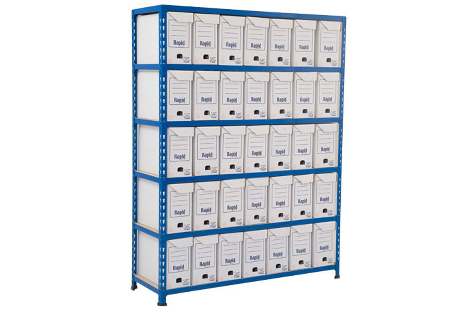 Rapid 2 flip top document storage bay with 35 boxes