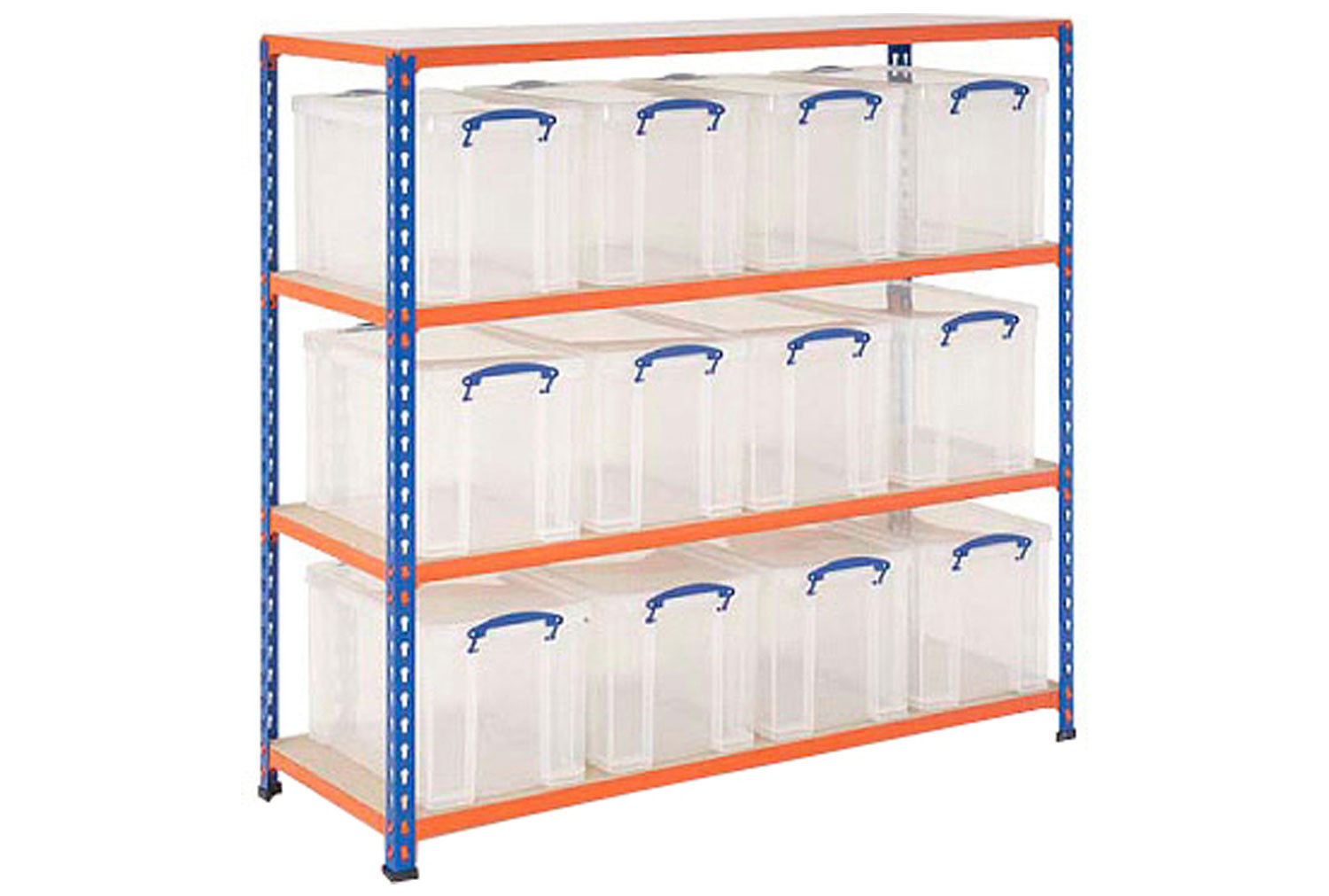 Really useful box storage unit with 12 x 24 litre clear boxes