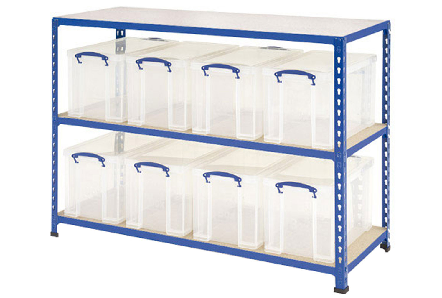 Rapid 2 storage bay with 8 x 24 litre clear really useful boxes