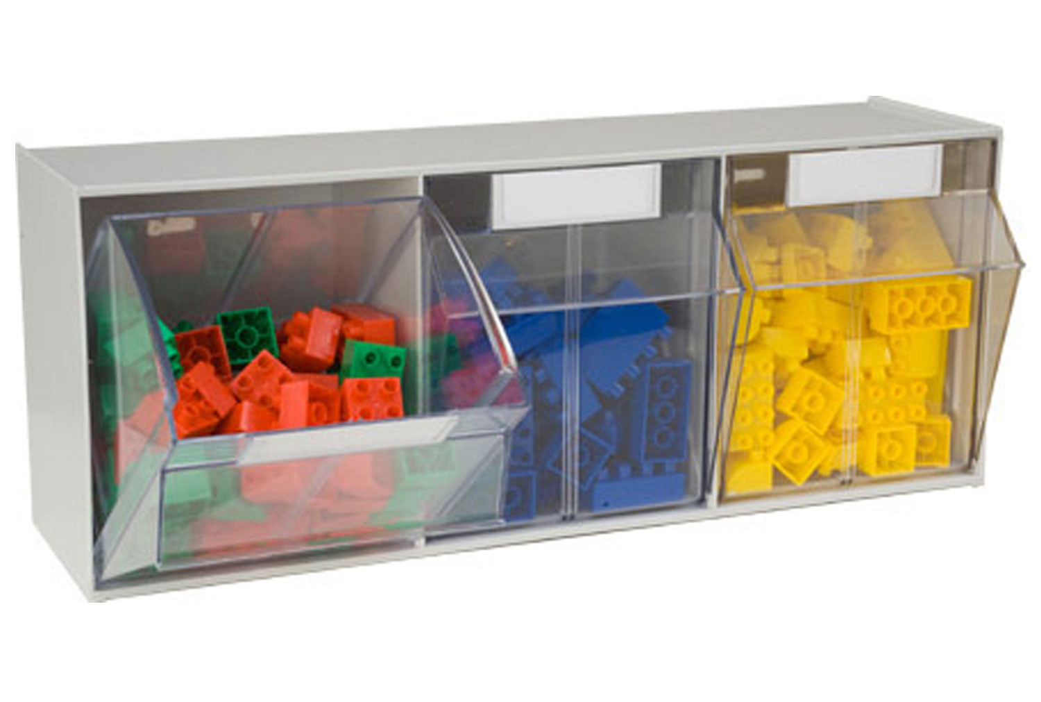Tilted front storage bins with 3 sections