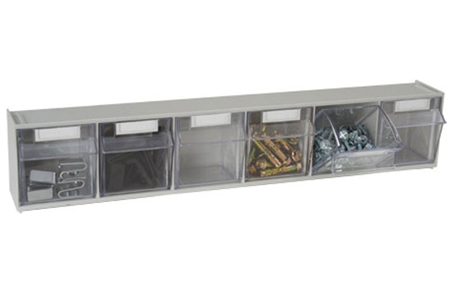 Tilted front storage bins with 6 sections