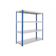 Rapid 1 Heavy Duty Shelving With 4 Galvanized Shelves 1830Wx2440H (Blue/Grey)