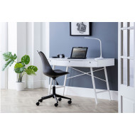 Milman Home Office White Desk and Black Chair Bundle Deal