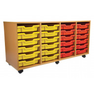 Educate 4 Column Tray Storage Unit With 24 Shallow Trays
