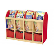 Milan double sided mobile book storage with 4 trays