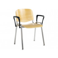 Pack Of 4 Wooden Conference Chairs With Arms