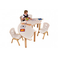 Alps Fan Shaped Table And Stationery Rack Bundle (2 Tables 1 Rack)