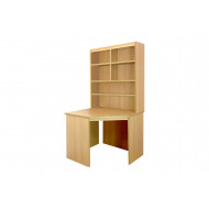 Small Office Corner Desk With Hutch Bookcase (Classic Oak)