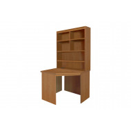Small Office Corner Desk With Hutch Bookcase (English Oak)