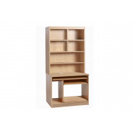 Small Office Computer Workstation With Hutch Bookcase (Sandstone)