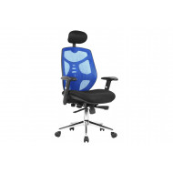 Dornock Blue Mesh Back Executive Chair With Headrest