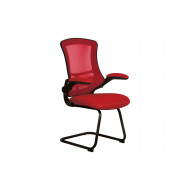 Moon Mesh Back Visitor Chair With Black Frame (Red)