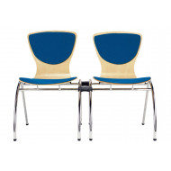 Pack of 4 Serena Linking Side Chairs With Upholstered Seat & Back
