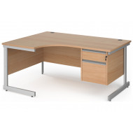 Value Line Classic+ C-Leg Left Ergo Desk 2 Drawers (Silver Leg)