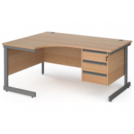 Value Line Classic+ C-Leg Left Ergo Desk 3 Drawers (Graphite Leg)