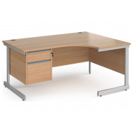 Value Line Classic+ C-Leg Right Ergo Desk 2 Drawers (Silver Leg)
