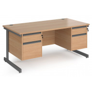 Value Line Classic+ Rectangular C-Leg Desk 2+2 Drawers (Graphite Leg)