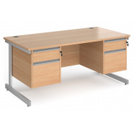 Value Line Classic+ Rectangular C-Leg Desk 2+2 Drawers (Silver Leg)