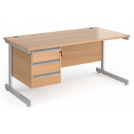 Value Line Classic+ Rectangular C-Leg Desk 3 Drawers (Silver Leg)
