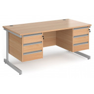 Value Line Classic+ Rectangular C-Leg Desk 3+3 Drawers (Silver Leg)