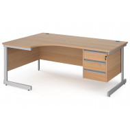 Value Line Classic+ C-Leg Left Ergo Desk 3 Drawers (Silver Leg)