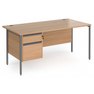 Value Line Classic+ Rectangular H-Leg Desk 2 Drawers (Graphite Leg)