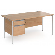 Value Line Classic+ Rectangular H-Leg Desk 2 Drawers (Silver Leg)