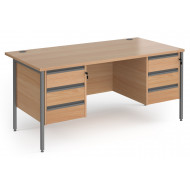 Value Line Classic+ Rectangular H-Leg Desk 3+3 Drawers (Graphite Leg)