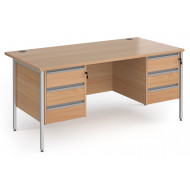 Value Line Classic+ Rectangular H-Leg Desk 3+3 Drawers (Silver Leg)
