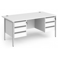 All White Rectangular H-Leg Desk 3+3 Drawers