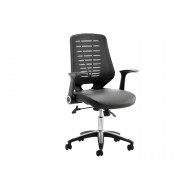 Next-Day Baton Mesh Back Operator Chair With Leather Seat