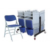 Upholstered Folding Chair Bundle Deal (28 Chairs & 1 Trolley)