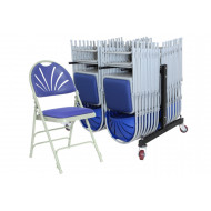 Deluxe Padded Folding Chair Bundle Deal (28 Chairs & 1 Trolley)