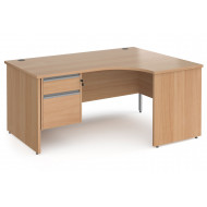 Next-Day Value Line Classic+ Panel End Right Ergo Desk 2 Drawers (Silver Slats)