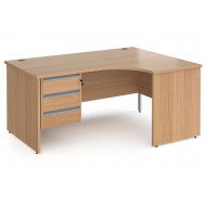 Next-Day Value Line Classic+ Panel End Right Ergo Desk 3 Drawers (Silver Slats)