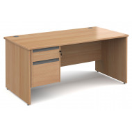 Value Line Classic+ Panel End Desk 2 Drawers (Graphite Slats)