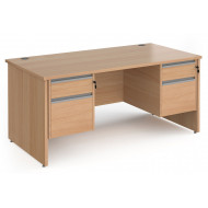 Next-Day Value Line Classic+ Panel End Desk 2+2 Drawers (Silver Slats)