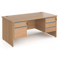 Value Line Classic+ Panel End Desk 2+3 Drawers (Silver Slats)
