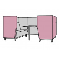 Niche Wide 4 Seater Meeting Pod With Wooden Legs