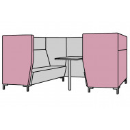 Niche Narrow 6 Seater Meeting Pod With Metal Legs