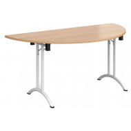All Beech Semi Circular Folding Table With Curved Feet
