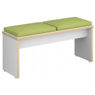 Block 2 Seater Bench With Upholstered Seat