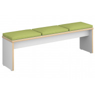 Block 3 Seater Bench With Upholstered Seat