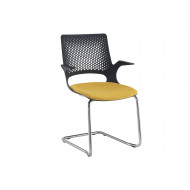 Bourke Visitor Chair With Chrome Frame And Black Shell