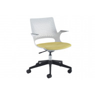 Bourke Operator Chair With Black Base And Grey Shell