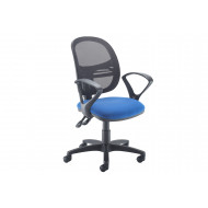 Vantage Mesh Medium Back Operator Chair With Fixed Arms (Blue)