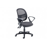 Vantage Mesh Medium Back Operator Chair With Fixed Arms (Charcoal)
